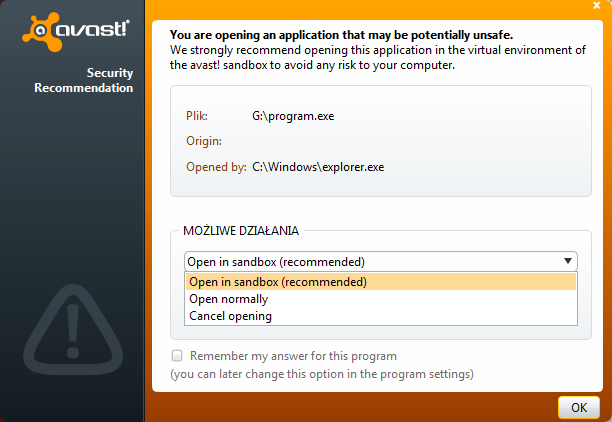Dostępne opcje w komunikacie funkcji AutoSandbox programu Avast 6