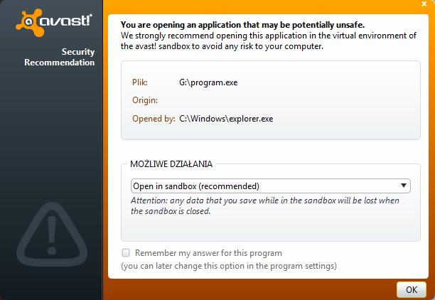Komunikat funkcji AutoSandbox programu Avast 6 podczas otwierania nieznanego pliku