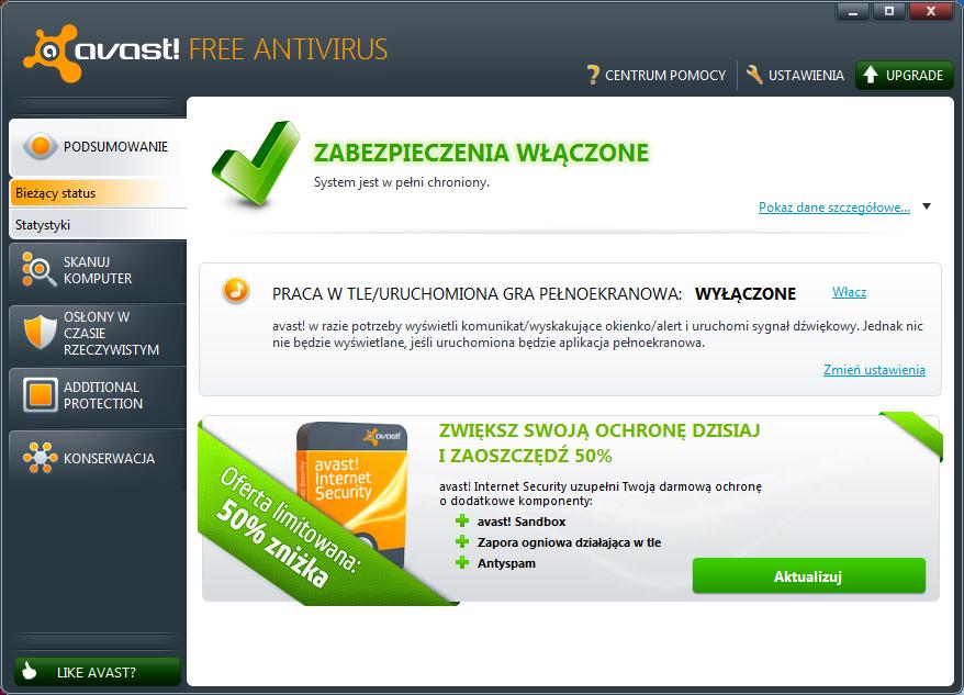Okno główne programu Avast 6