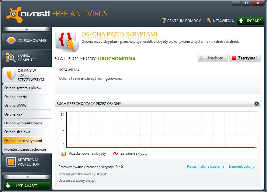 Osłona przed szkodliwymi skryptami w programie Avast 6