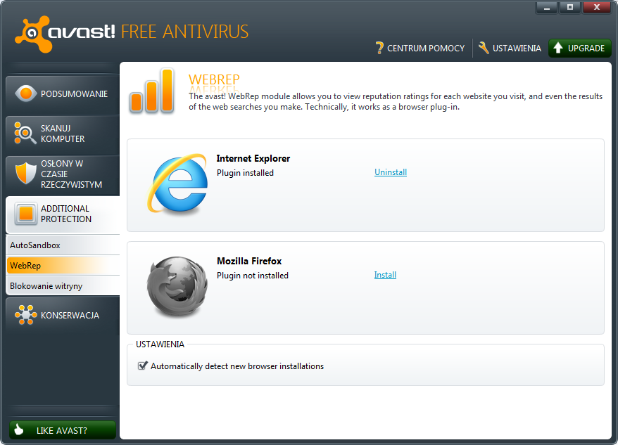 Funkcja reputacji dla przeglądarek internetowych w programie Avast 6