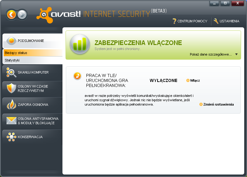 Interfejs programu Avast Internet Security 5 beta 3