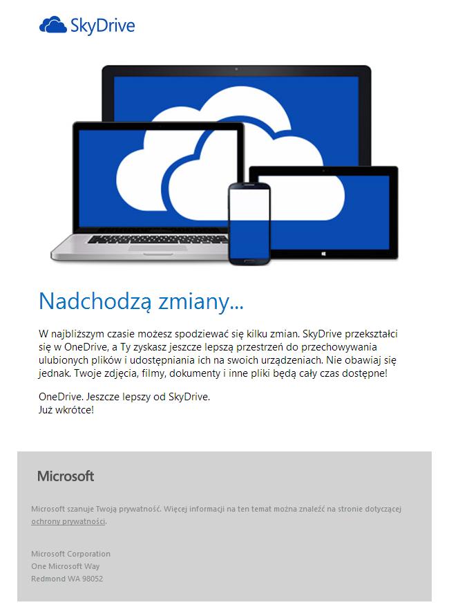 Email z informacją o zmianie nazwy usługi SkyDrive