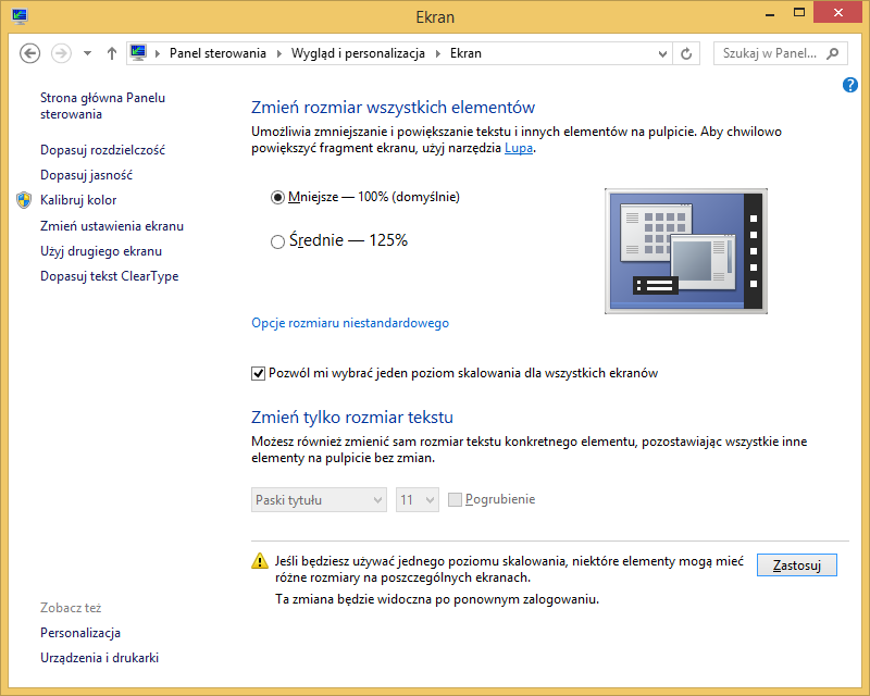 Opcje skalowania elementów interfejsu w Windows 8.1