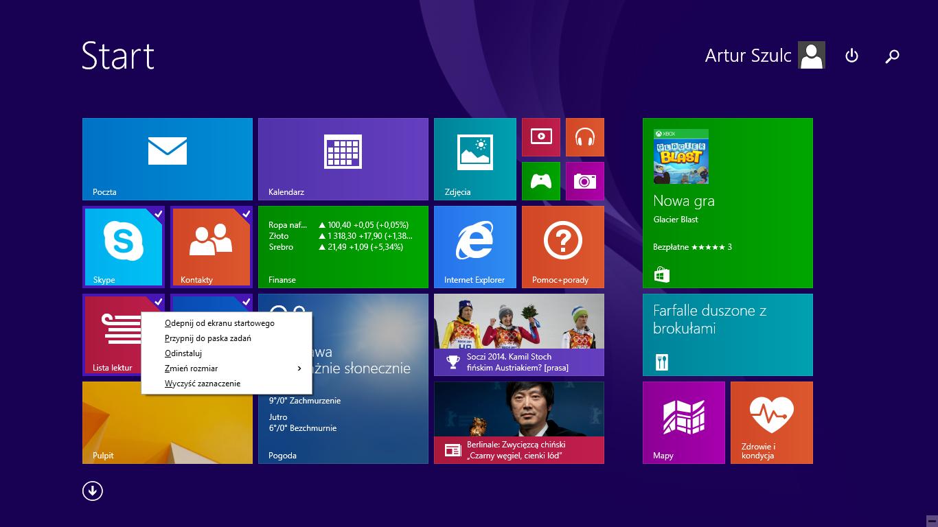 Opcje dostosowywania grupy kafelków w nowym menu na ekranie startowym w Windows 8.1 Update 1