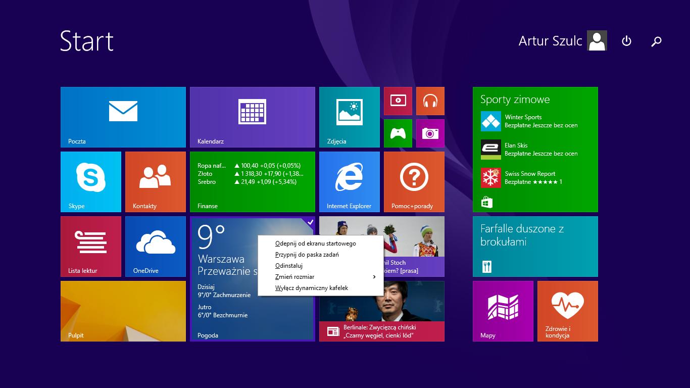 Opcje dostosowywania kafelka w nowym menu na ekranie startowym w Windows 8.1 Update 1