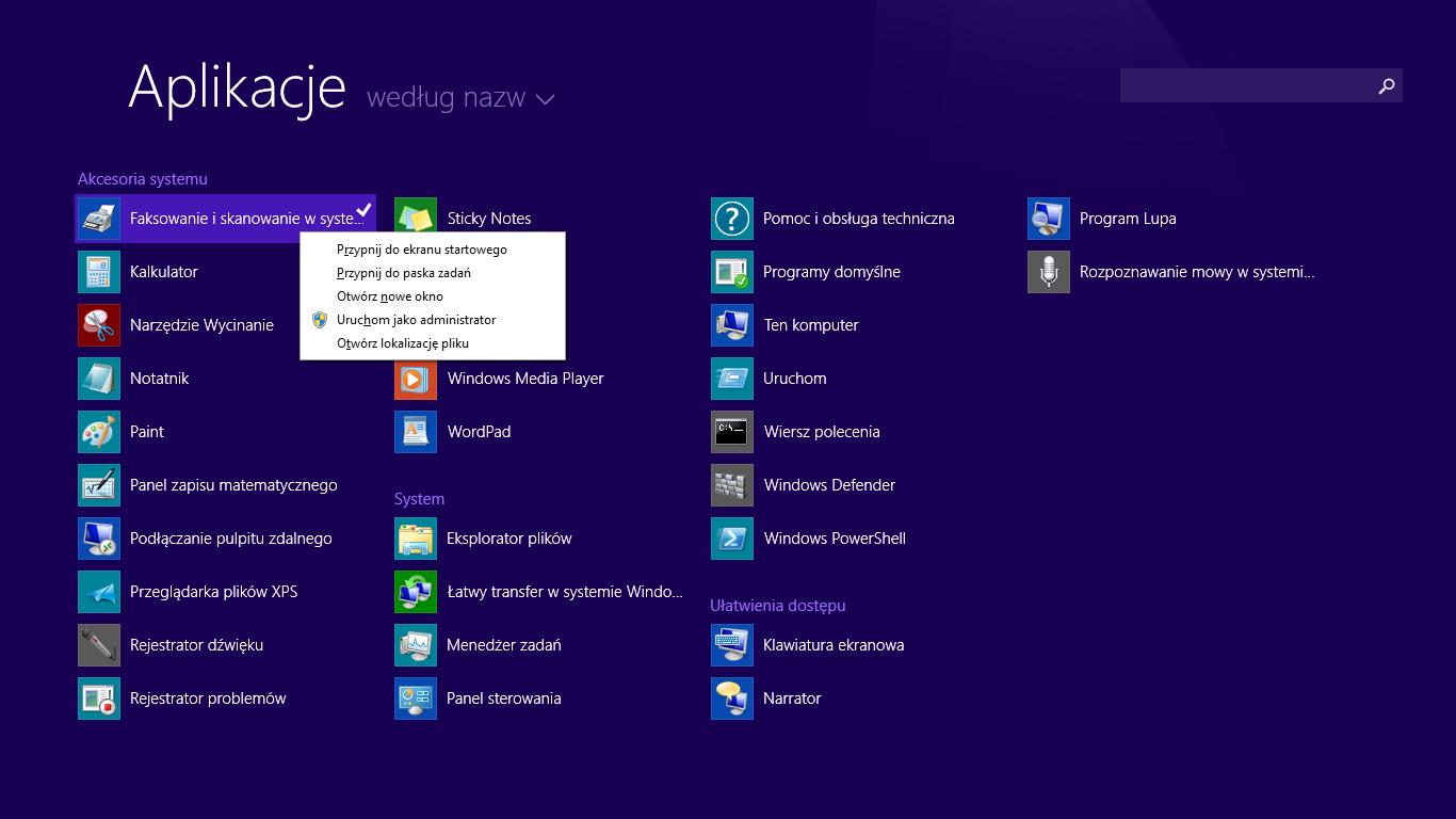 Opcje klasycznych aplikacji w nowym menu na ekranie startowym w Windows 8.1 Update 1