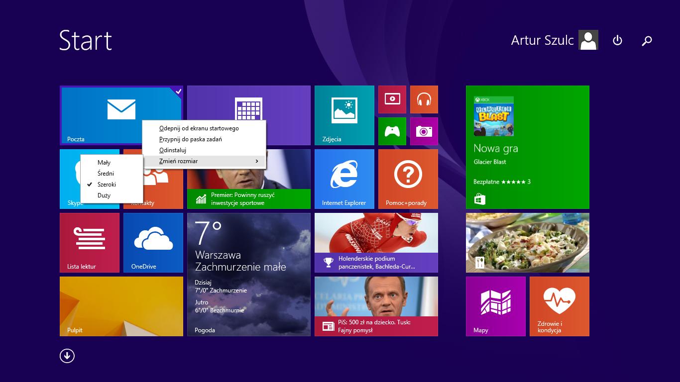 Rozmiary kafelków w nowym menu na ekranie startowym w Windows 8.1 Update 1