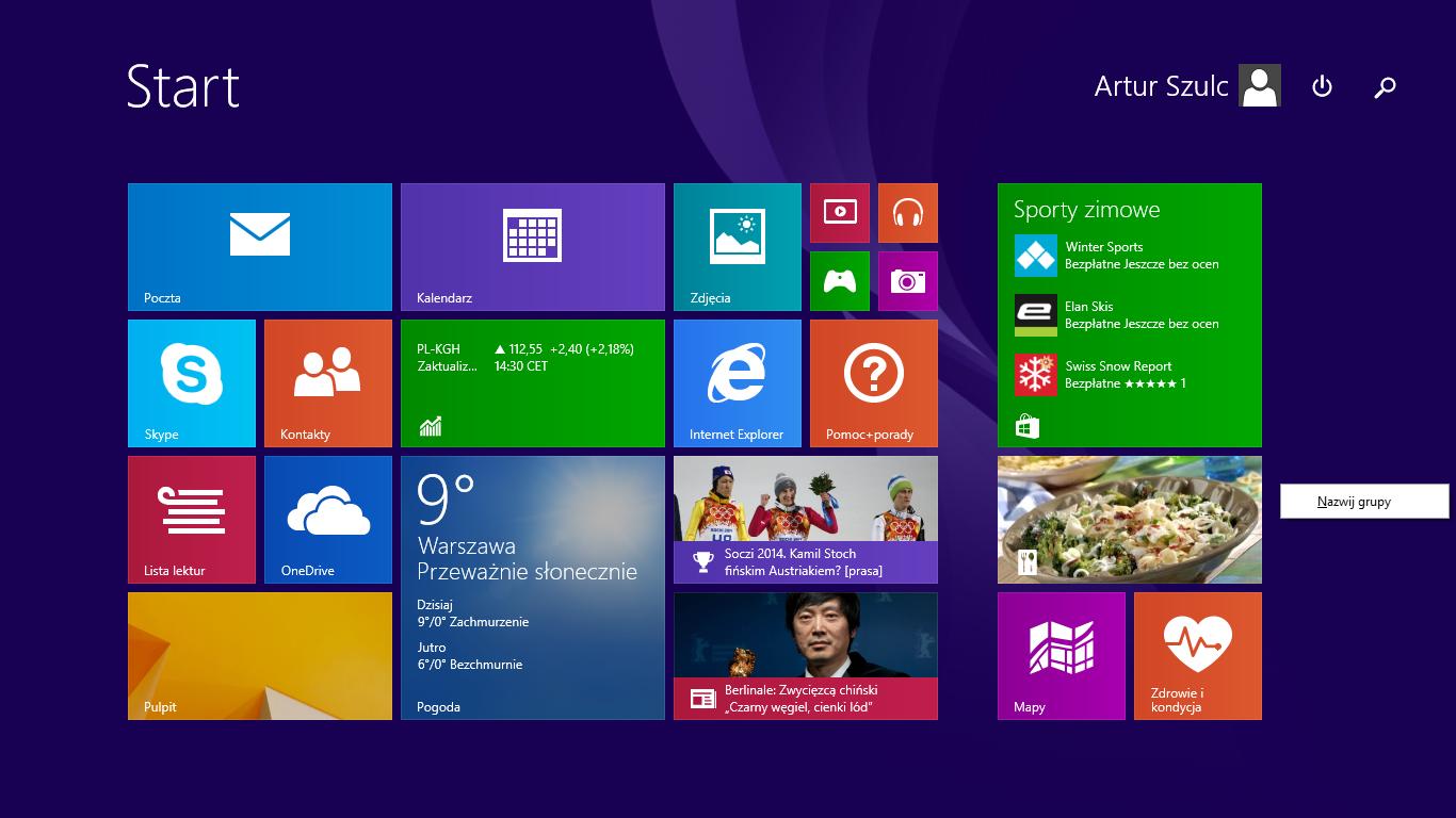 Nowe menu nazywania grup kafelków w Windows 8.1 Update 1