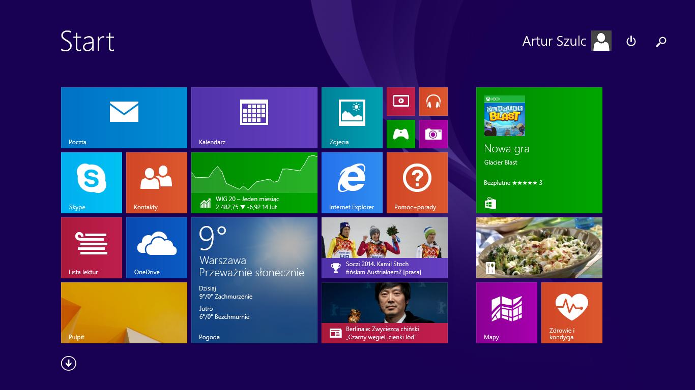 Zamykanie i wyszukiwanie bezpośrednio z ekranu startowego w Windows 8.1 Update 1