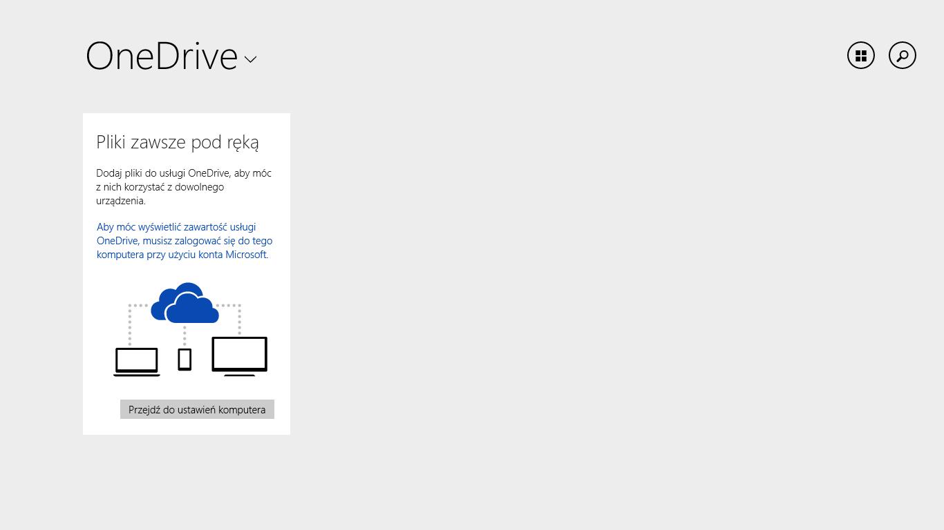 Aplikacja OneDrive w Windows 8.1 Update 1