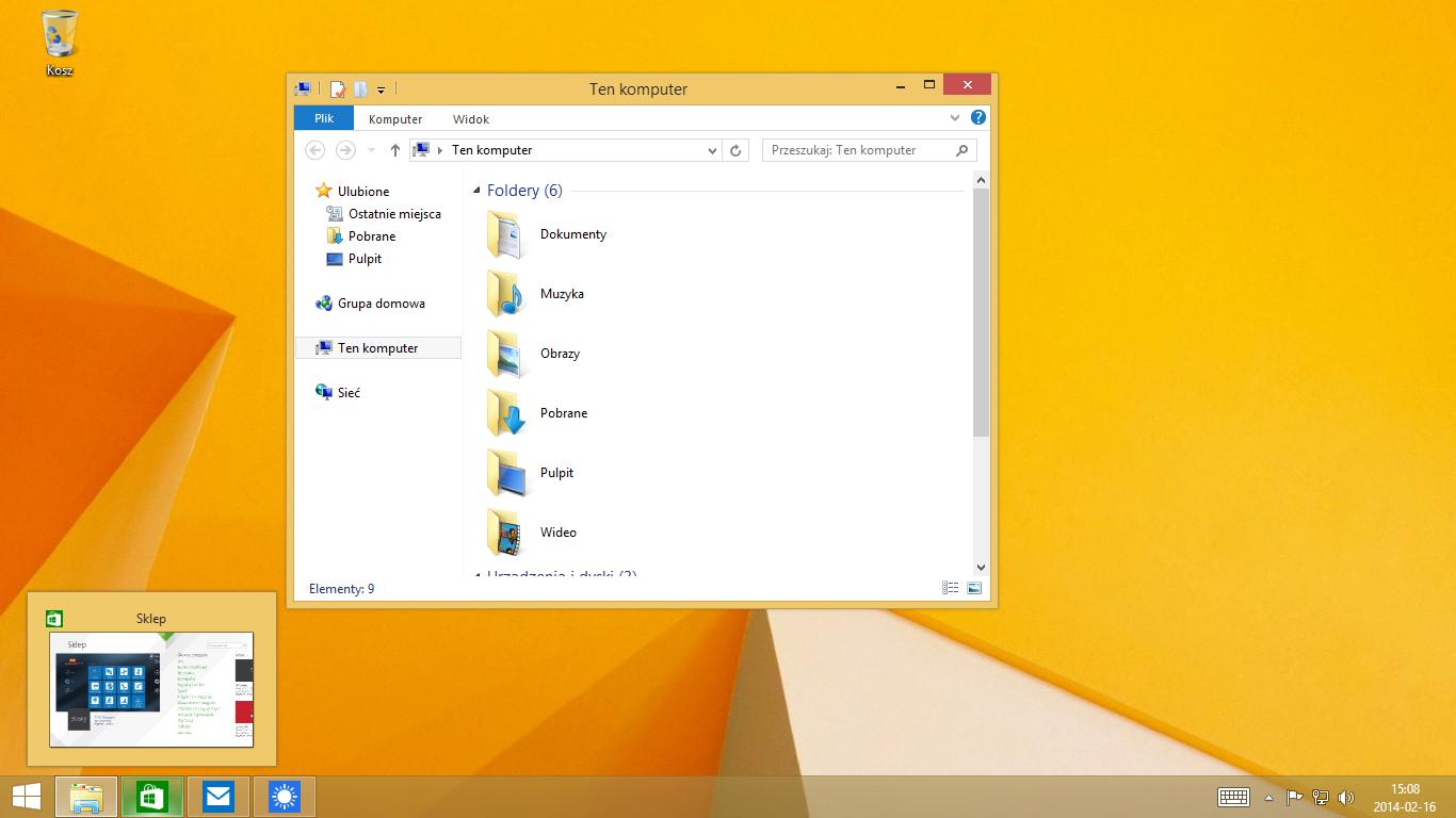 Przełączanie pomiędzy aplikacjami Modern i klasycznymi poprzez pasek zadań w Windows 8.1 Update 1