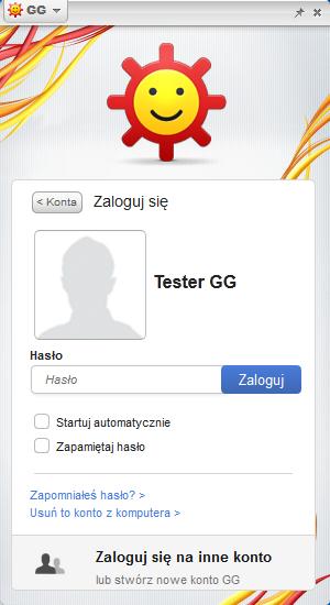Komunikator GG - logowanie do profilu