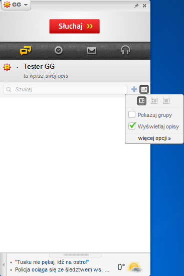 Komunikator GG - szybka zmiana wyświetlania listy kontaktów