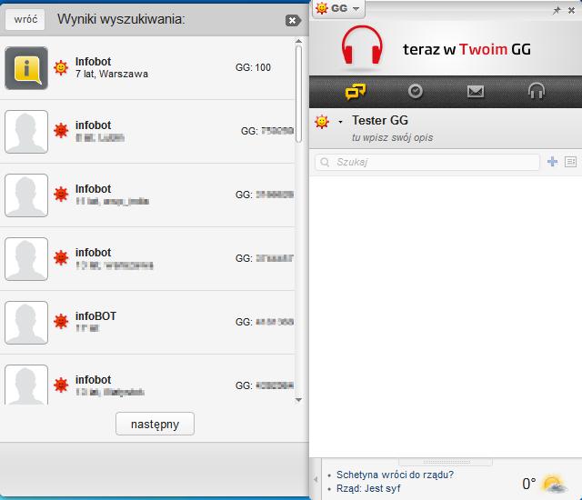 Komunikator GG - wyniki wyszukiwania kontaktów