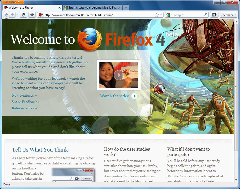 Interfejs programu Firefox 4 w wersji beta 1