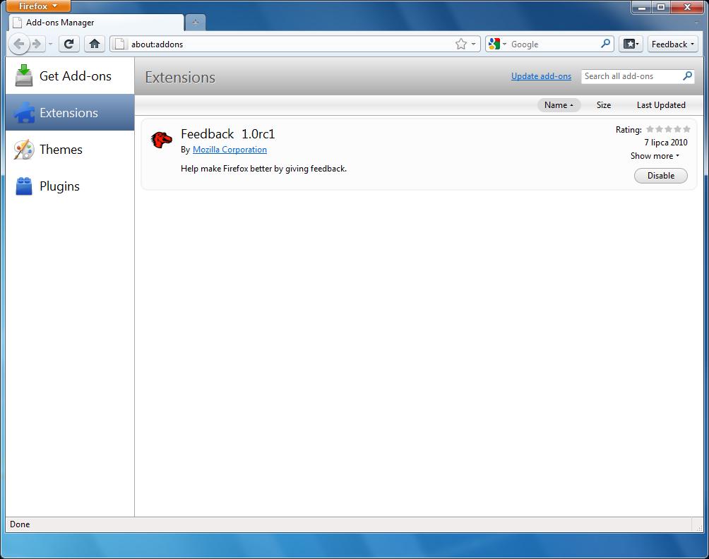 Odświeżony menedżer dodatków w programie Firefox 4 w wersji beta 1