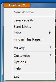 Nowe menu w programie Firefox 4 w wersji beta 1