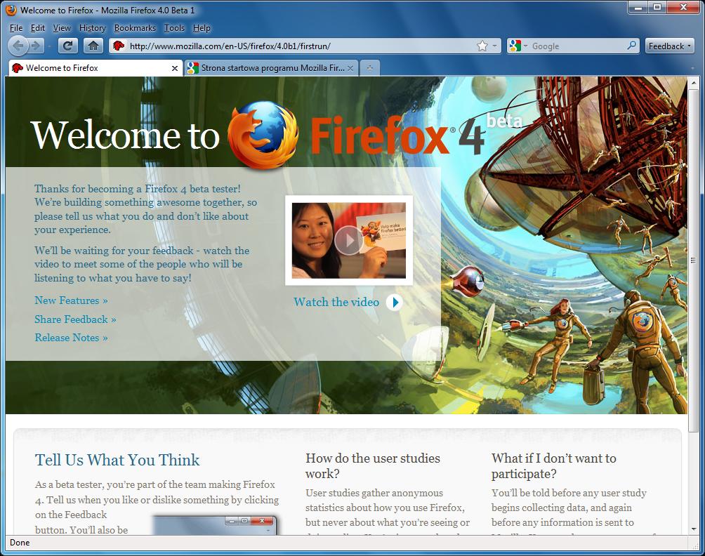 Klasyczny interfejs w programie Firefox 4 w wersji beta 1