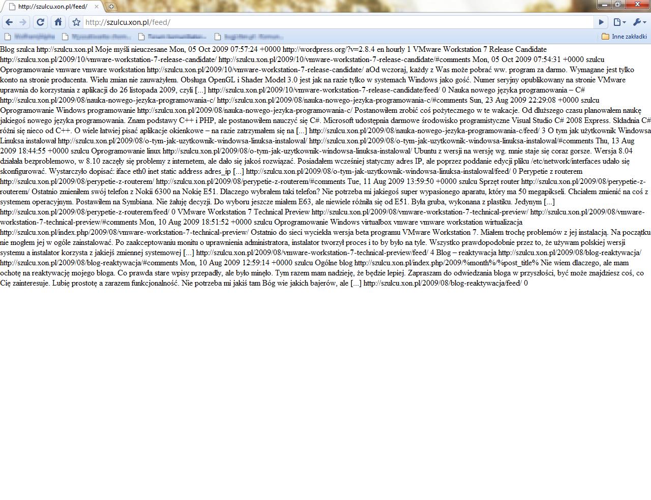 Próba otworzenia kanału RSS w Google Chrome