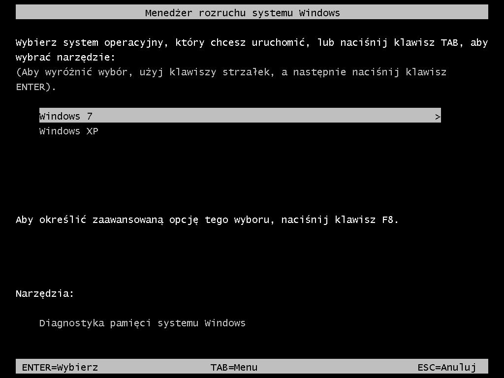 Windows XP w menedżerze rozruchu systemu Windows 7