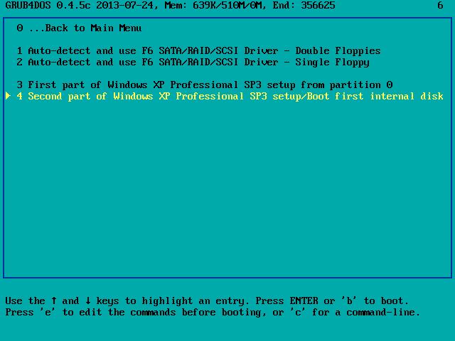 Uruchamianie graficznego etapu instalacji systemu Windows XP z pamięci USB