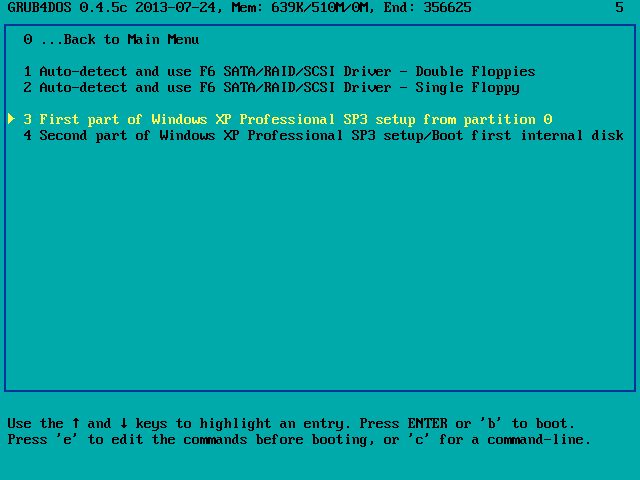 Uruchamianie tekstowego etapu instalacji systemu Windows XP z pamięci USB