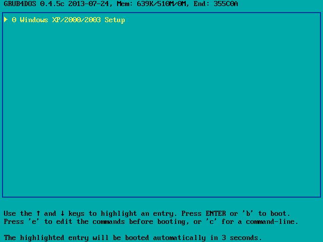 Ekran widoczny po uruchomieniu instalatora Windows XP z pamięci USB