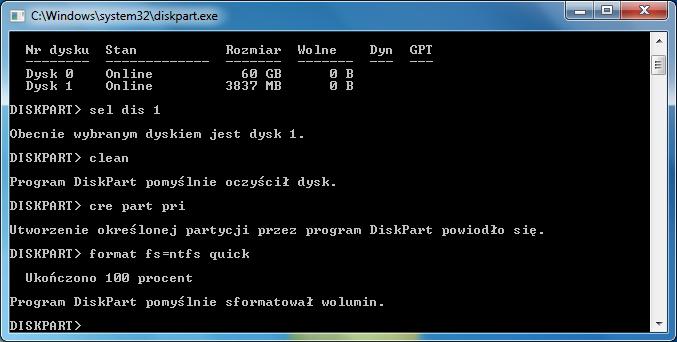 Formatowanie partycji w programie diskpart