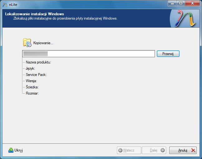 Kopiowanie plików systemu Windows XP na dysk przez program nLite