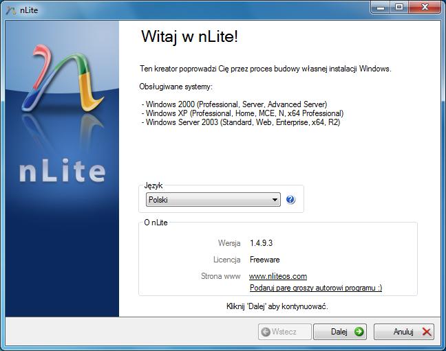 Wybór języka programu nLite
