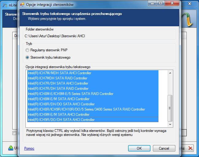 Opcje integracji sterowników trybu tekstowego w programie nLite