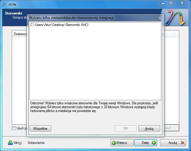 Wybór folderu do zintegrowania w programie nLite