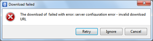 Komunikat o błędzie podczas pobierania KDE 4