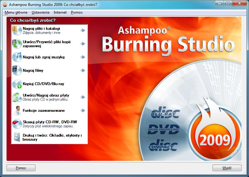 Okno główne programu Ashampoo Burning Studio 2009