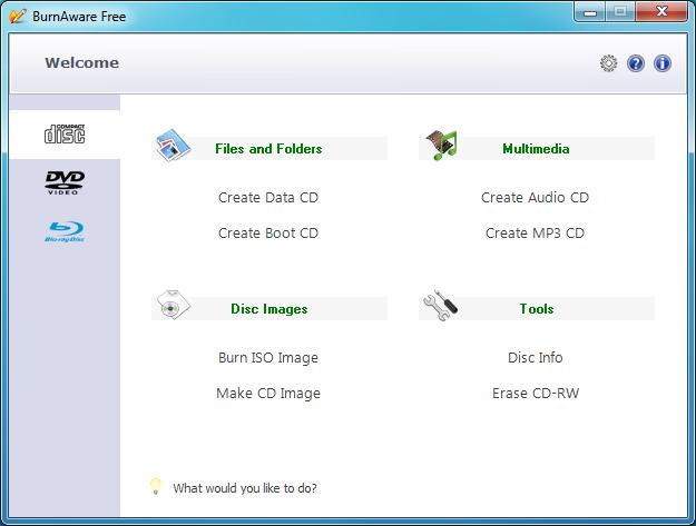 Okno główne programu BurnAware Free