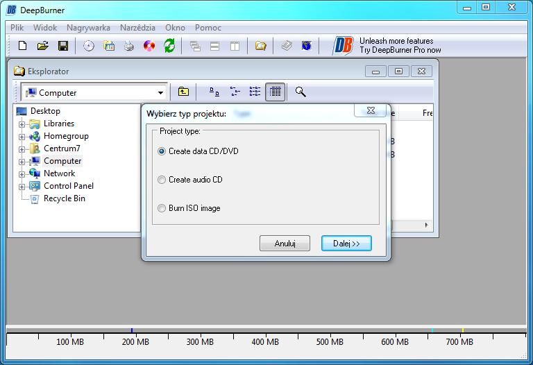Okno główne programu DeepBurner