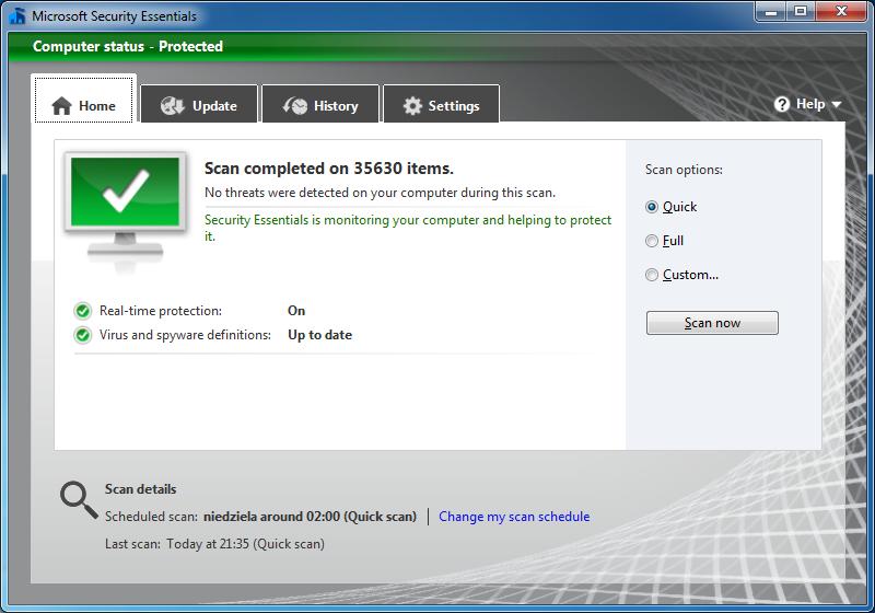 Okno głównej nowej wersji programu Microsoft Security Essentials
