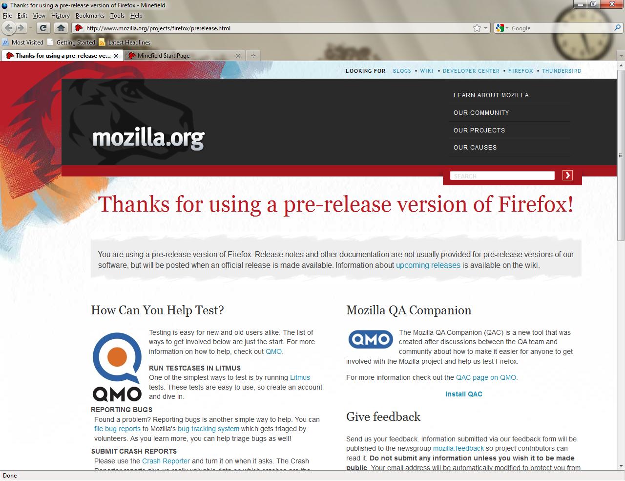 Przeglądarka Firefox z obsługą przezroczystości interfejsu Aero