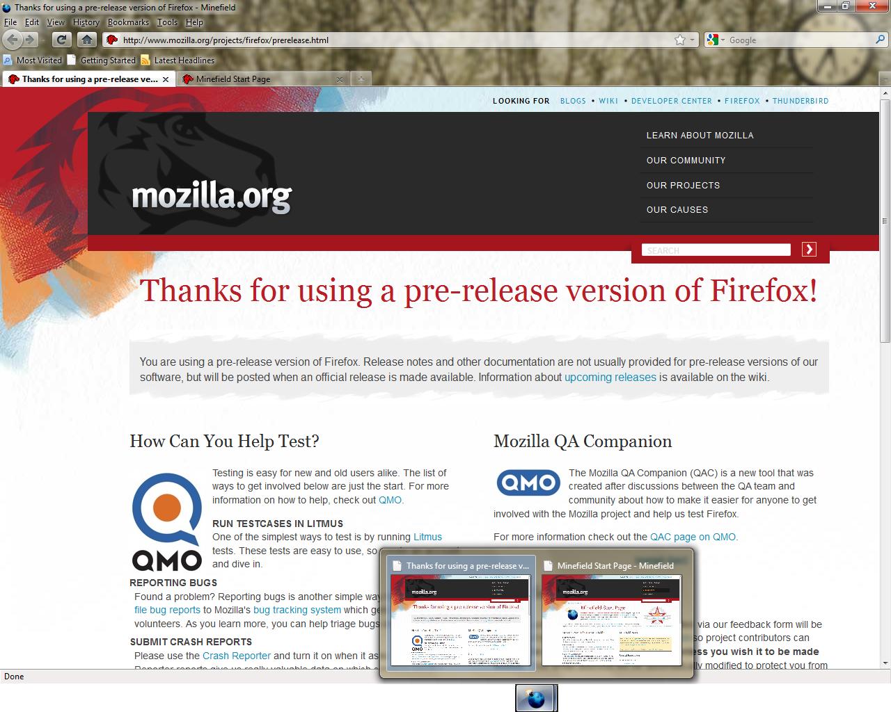 Przeglądarka Firefox z obsługą przezroczystości interfejsu Aero i miniaturkami systemu Windows 7