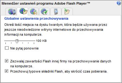 Ustawienia ciasteczek wtyczki Adobe Flash