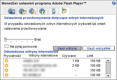 Usuwanie ciasteczek wtyczki Adobe Flash
