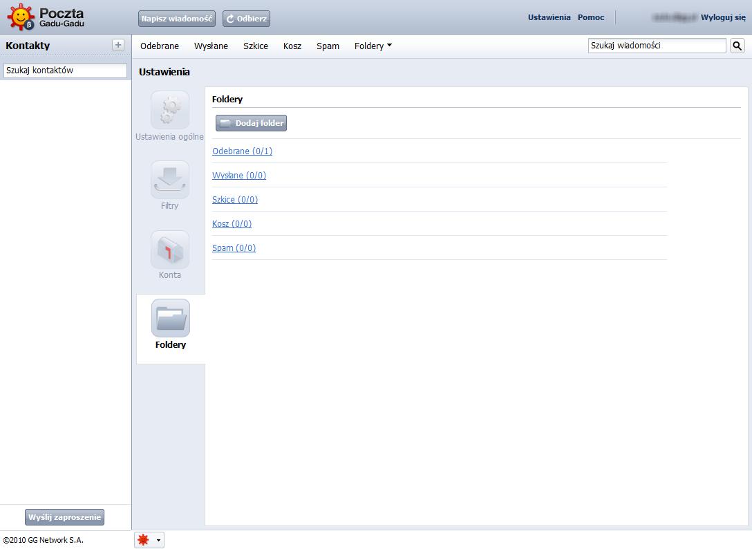 Zarządzanie folderami w poczcie GG