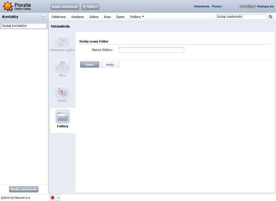 Dodawanie folderów w poczcie GG