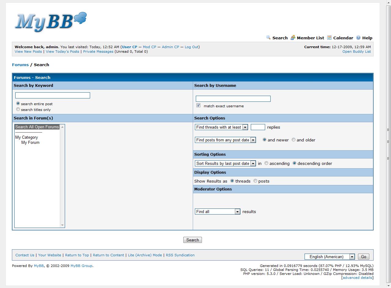 Odświeżona wyszukiwarka w MyBB 1.6