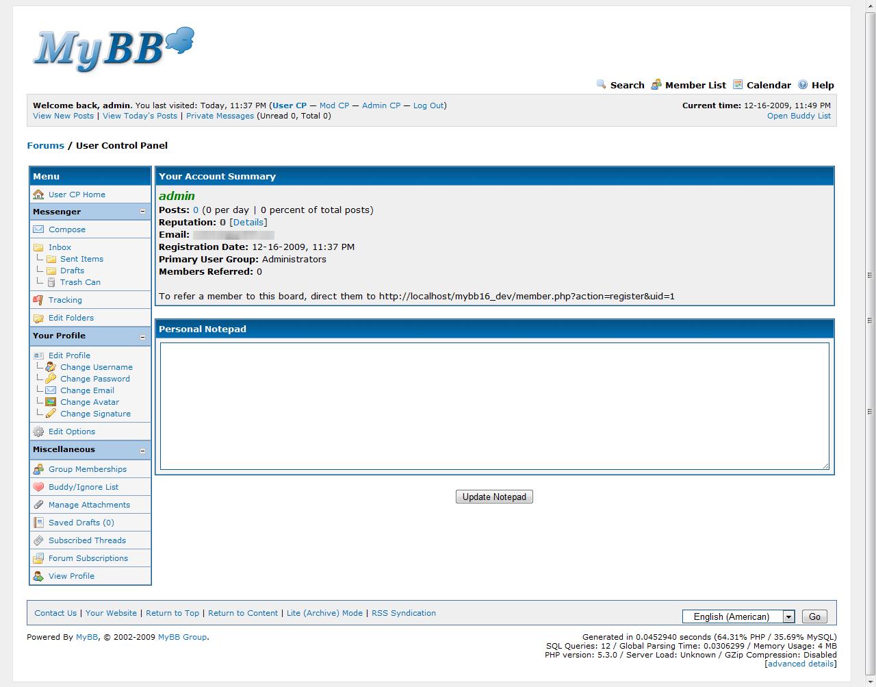 Panel użytkownika w MyBB 1.6