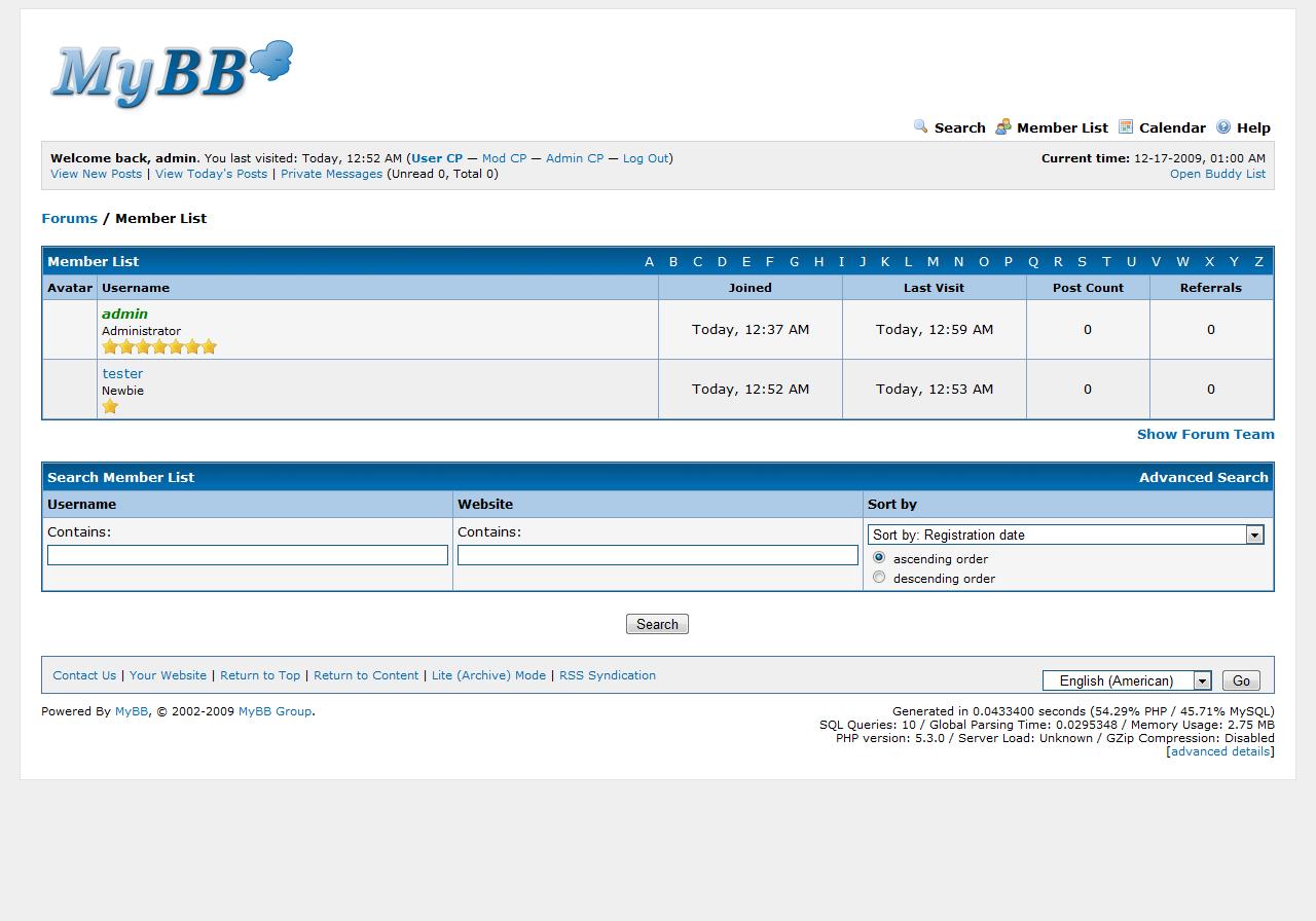 Odświeżona lista użytkowników w MyBB 1.6