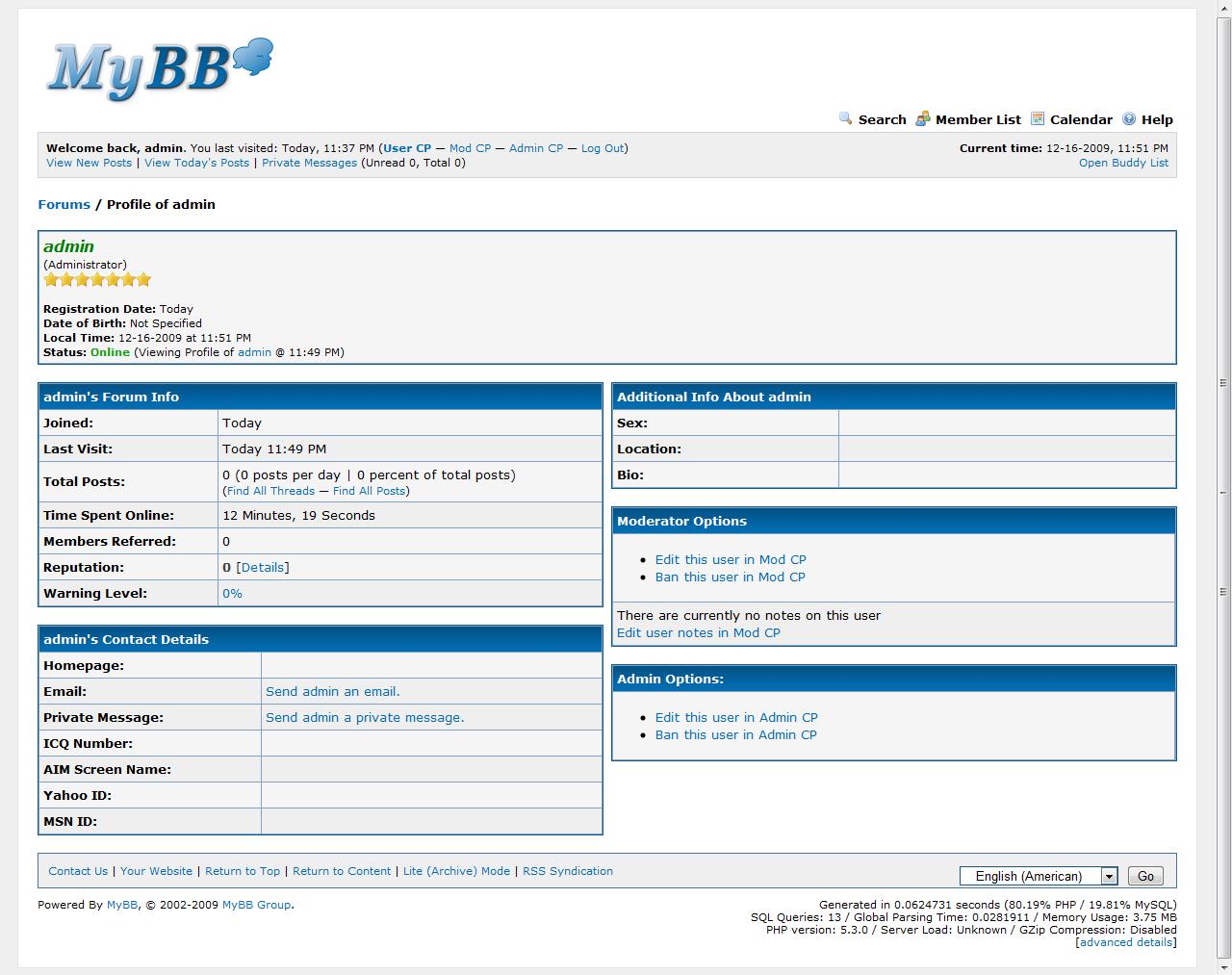 Nowe opcje w profilu użytkownika w MyBB 1.6