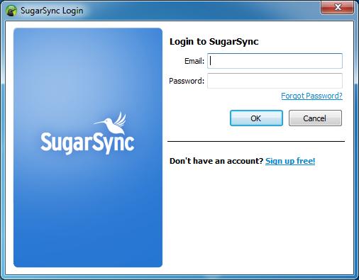 Kreator konfiguracji klienta usługi SugarSync - krok 1