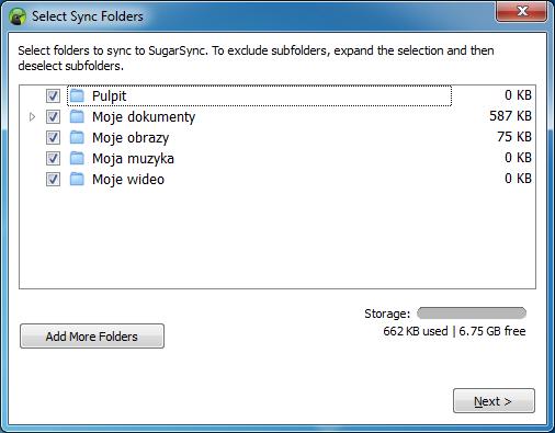 Kreator konfiguracji klienta usługi SugarSync - krok 3